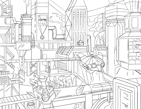 600x464 Free Printable Futuristic Cityscape Adult Coloring Page Download