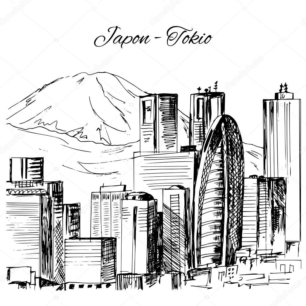1024x1024 Hand Drawn Tokio Cityscape Scene Stock Vector Naniti