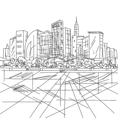 450x450 Sketch Houses And Building. Minimalism Contours In Vector. Black
