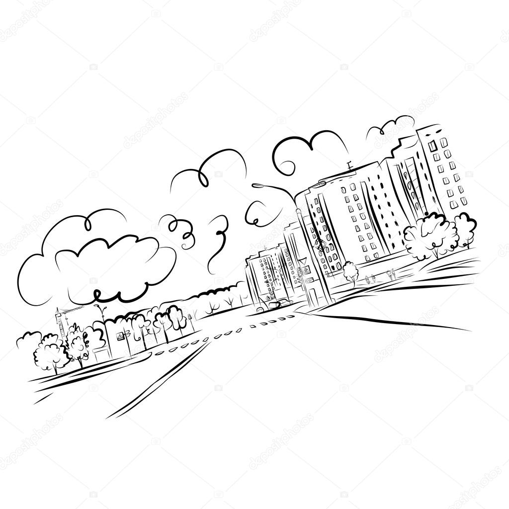 1024x1024 Sketch Of Cityscape For Your Design Stock Vector Kudryashka