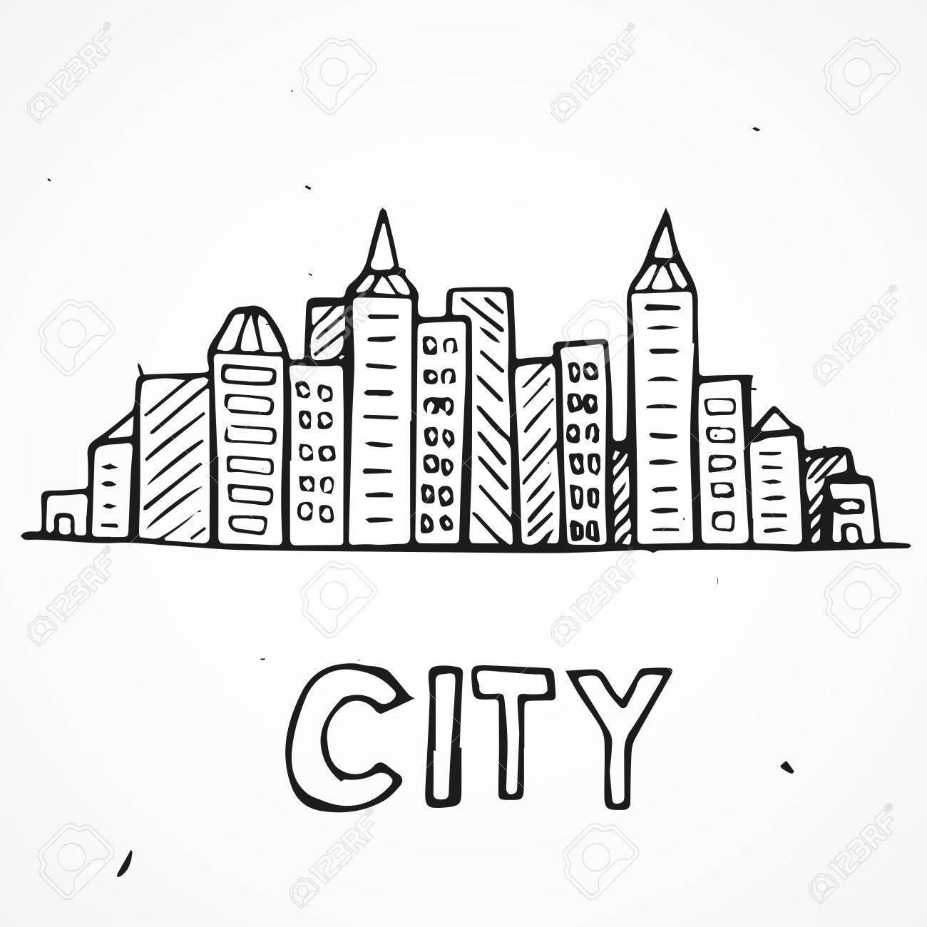 1300x1300 Vector Of Graphical Doodle Urban Cityscape, Hand Drawn Royalty