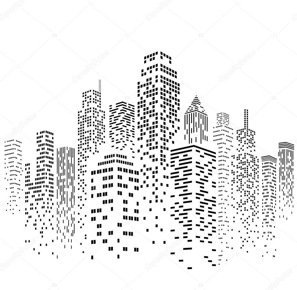 1024x999 Vector Urban Cityscape Silhouette Illustration Stock Vector