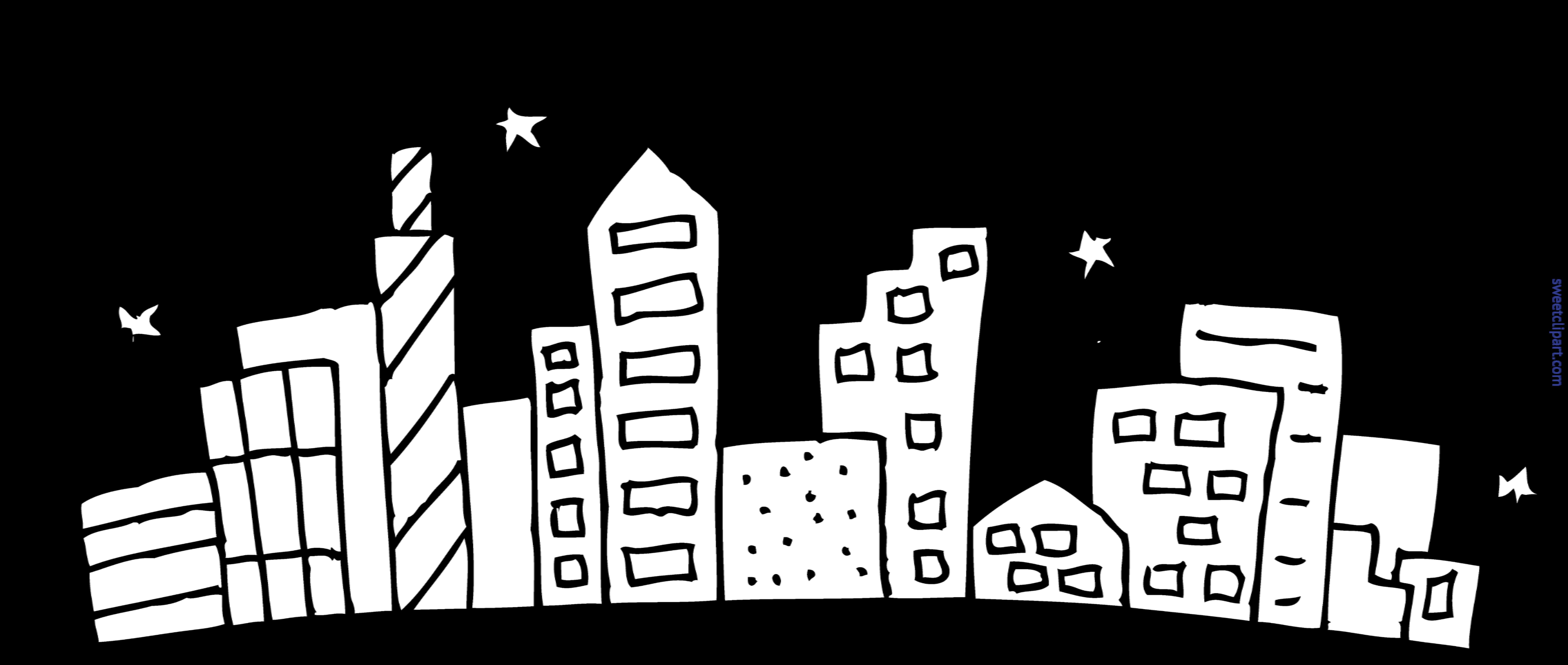 7779x3298 Cityscape Coloring Page Clip Art