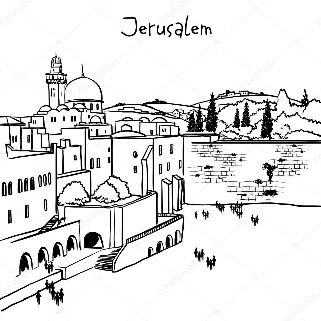 1024x1024 Jerusalem, Israel Old City Skyline Stock Vector Museyushaya