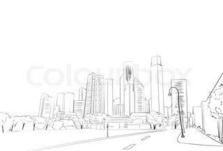 320x217 Symbolic Modern Cityscape With Skyscrapers Stock Vector Colourbox