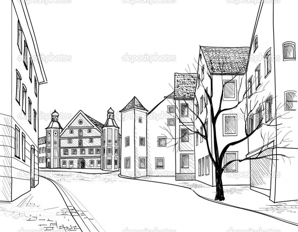 1024x797 City Landscape Drawing Hd Silhouette Of Cities Meadow Stock Vector