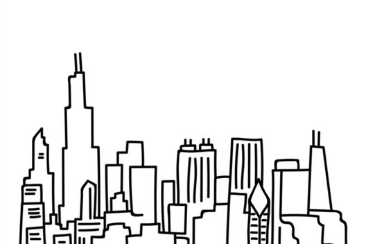 528x352 Chicago Skyline Outline Canvas Prints By Emmybdesigns Redbubble