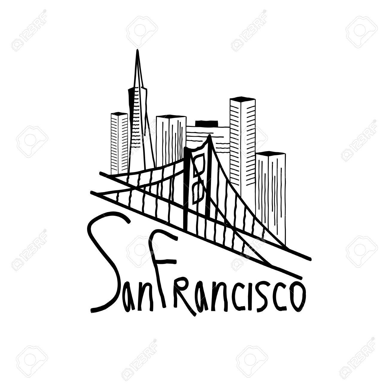 1300x1300 San Francisco Skyline Illustration Royalty Free Cliparts, Vectors