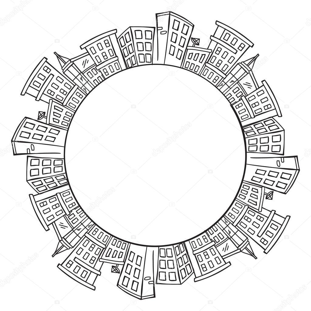 1024x1024 City Skylines With Copy Space Stock Vector Mhatzapa
