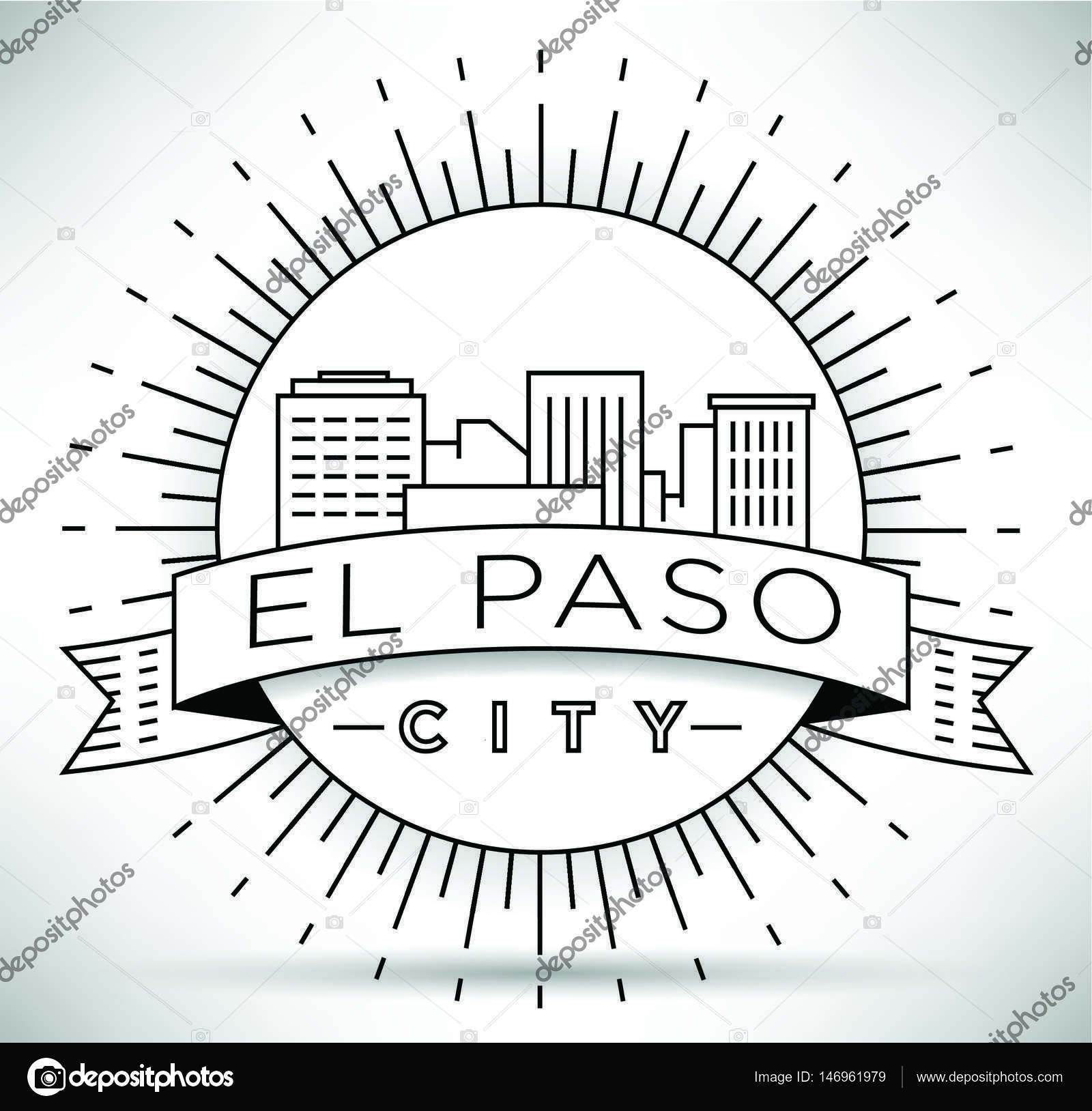 1600x1628 El Paso Linear City Skyline Stock Vector Kursatunsal