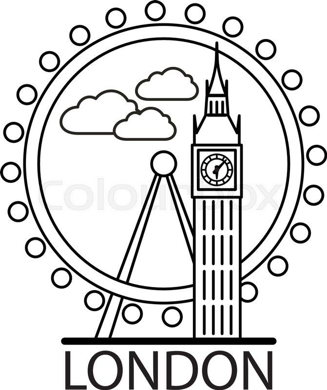 671x800 London City Skyline. Thin Line Linear Illustration Stock Vector