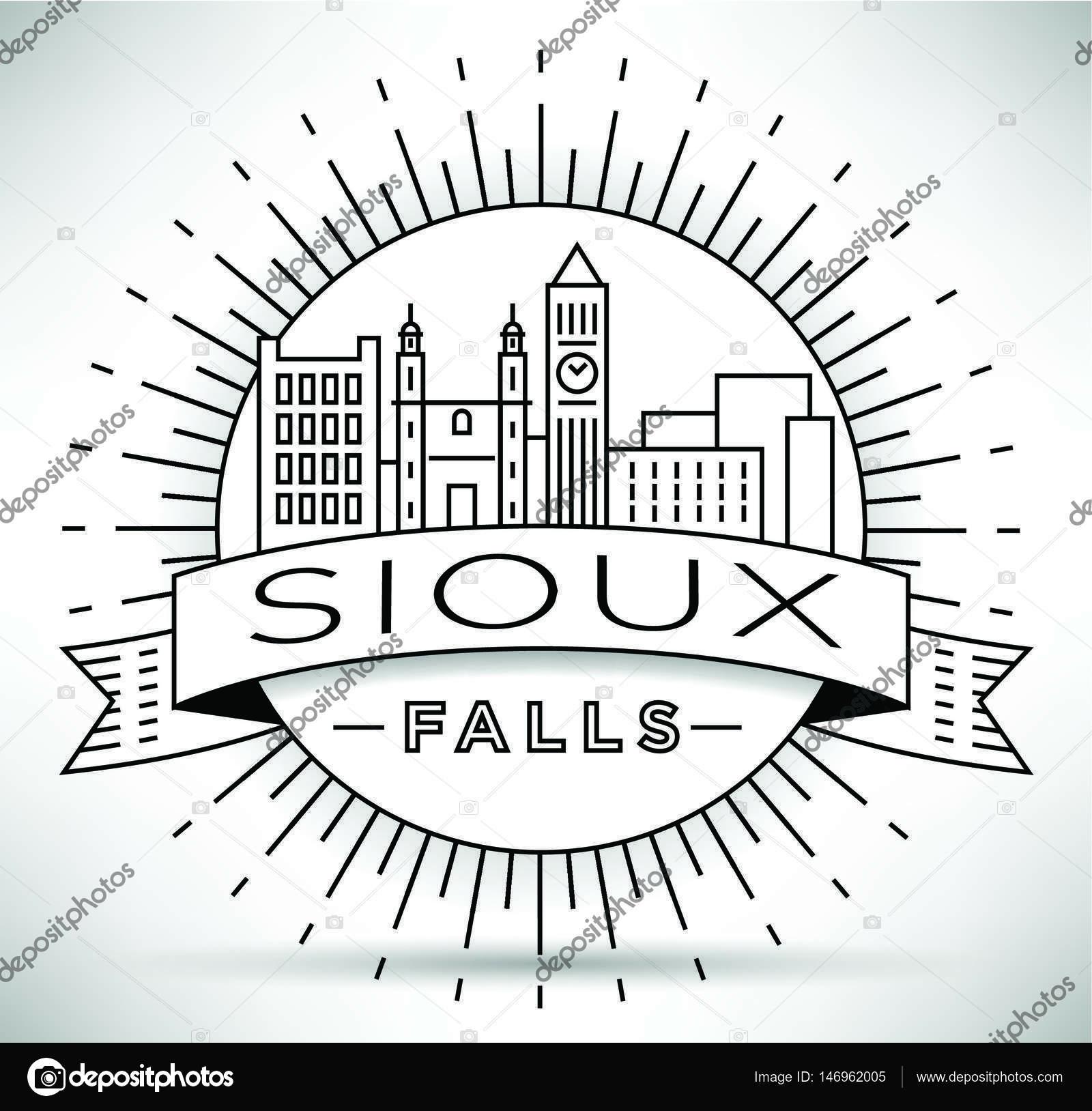 1600x1628 Sioux Falls Linear City Skyline Stock Vector Kursatunsal