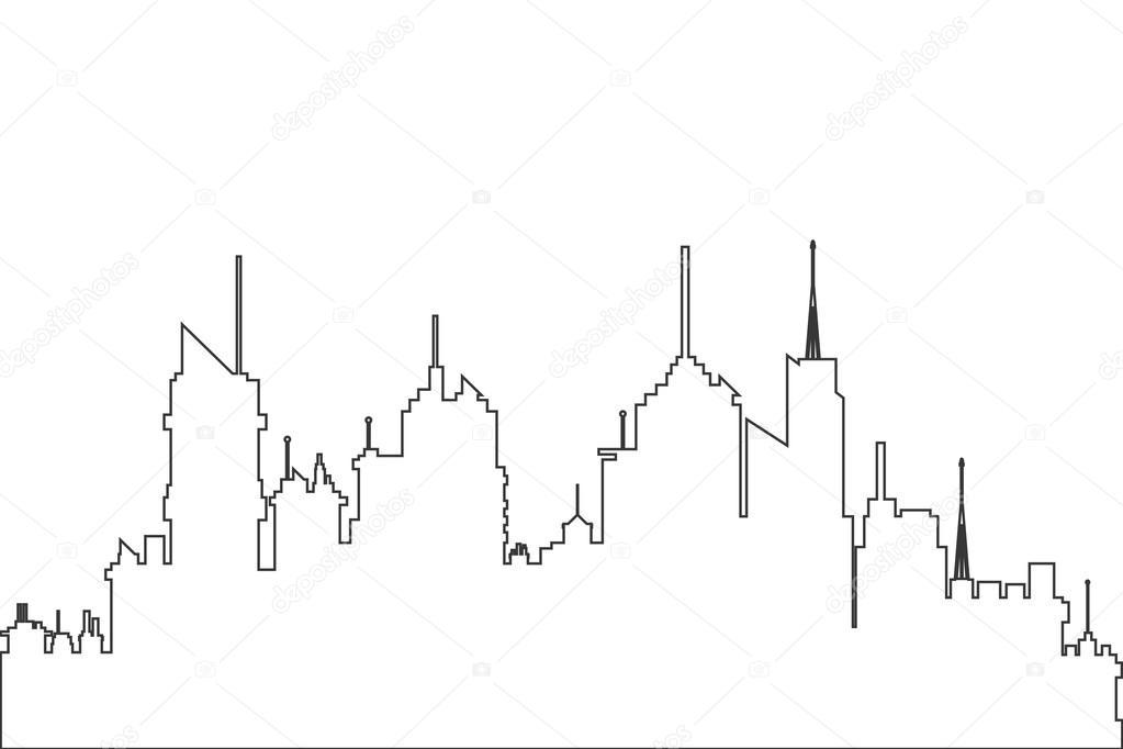1023x682 City Skyline Outline Icon Stock Vector Jemastock