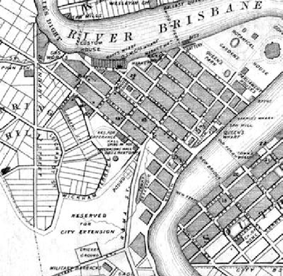 576x561 Extract From Slaters Pocket Map Of Brisbane 1865 Showing