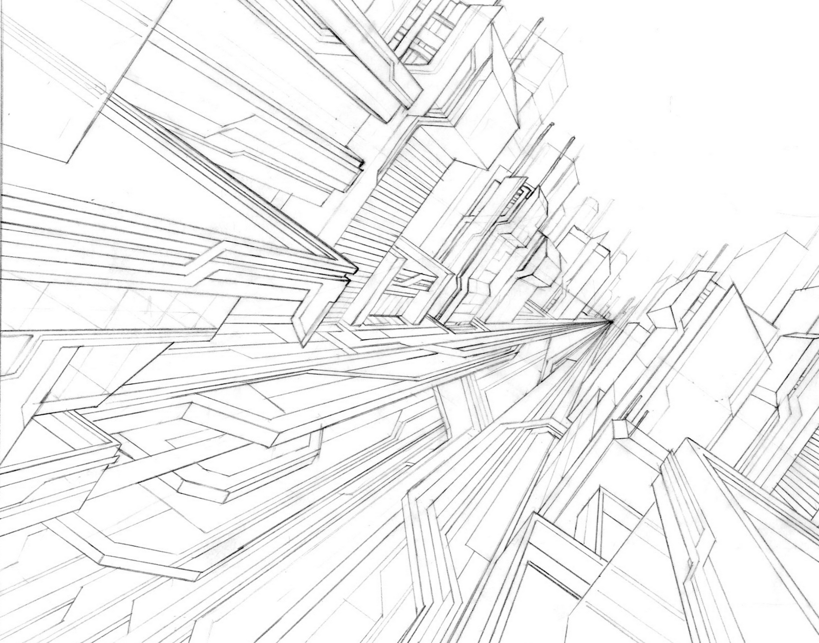 1600x1257 Erlson's Daily Sketches Futuristic Cityscape (Line Drawing)