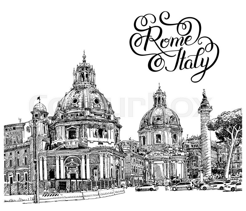 800x687 Original Black And White Digital Drawing Of Rome Italy Cityscape