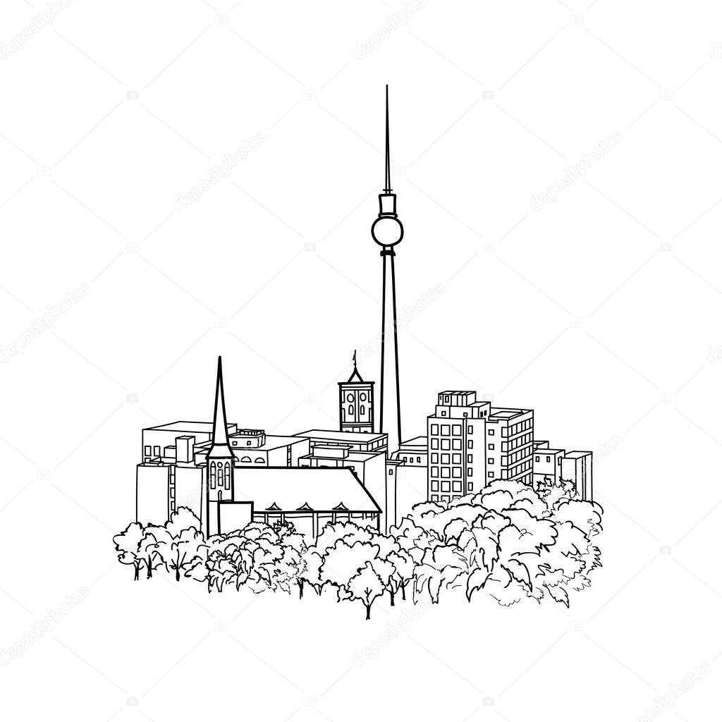 1024x1024 Famous Berlin City Buildings Skyline Stock Vector Yokodesign