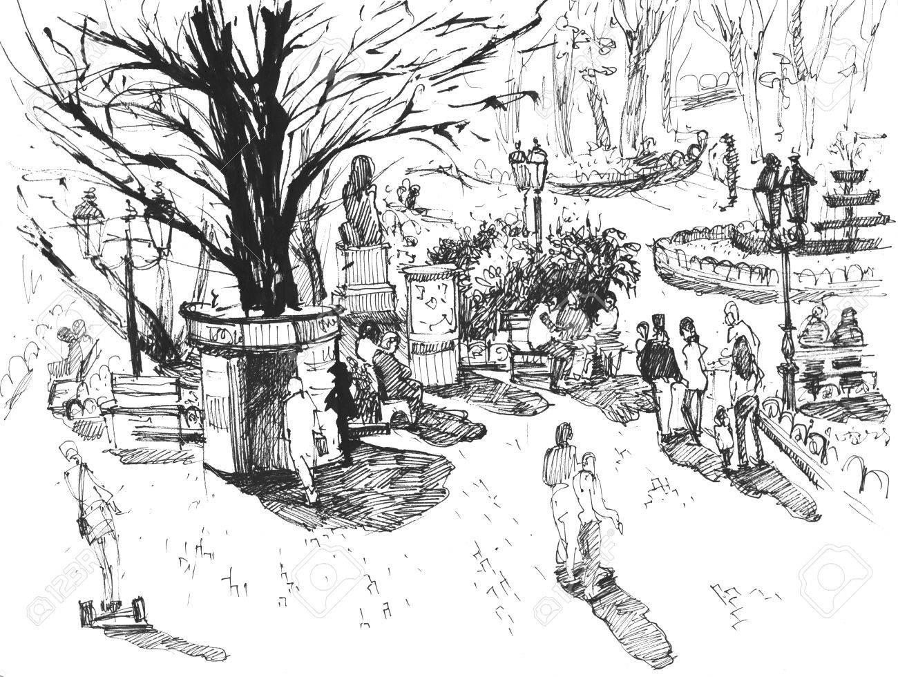 1300x980 Hand Drawnk Line Sketch European Town Odessa, Ukraine