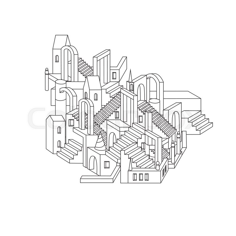 800x800 Hand Drawn Doodle Outline City In Shape Of Labyrinth Houses, Walls