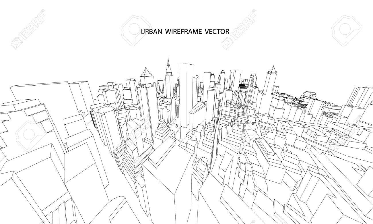 1300x780 Perspective 3d Wireframe Of City View Royalty Free Cliparts