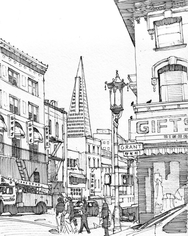 798x1000 San Francisco Line Art Printed Photography Background 7417 San
