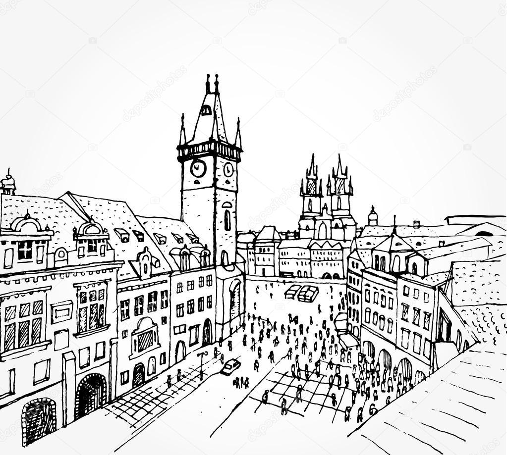 1023x919 Sketch Of Prague Stock Vector Tsaplia