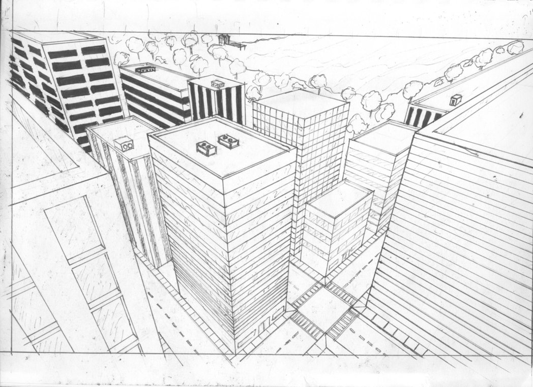 Cityscape Perspective Drawing