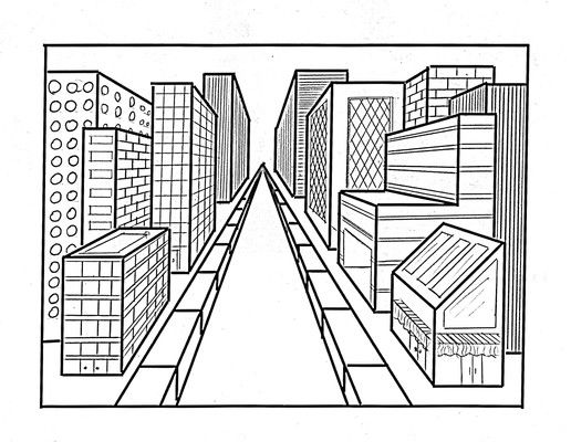516x400 Image Result For One Point Perspective Top View Of Buildings Art