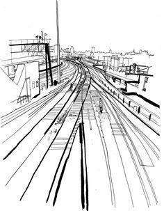 236x303 Lucinda Rogers Drawing Ink Collage Brick Lane Osborn Street Brick