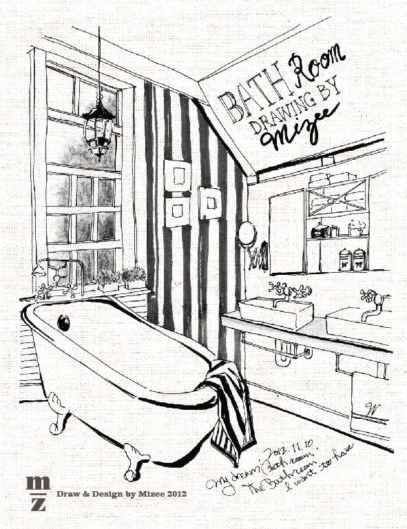 591x768 Mizee's Drawing Pen Illust Bathroom Illust Handdraw