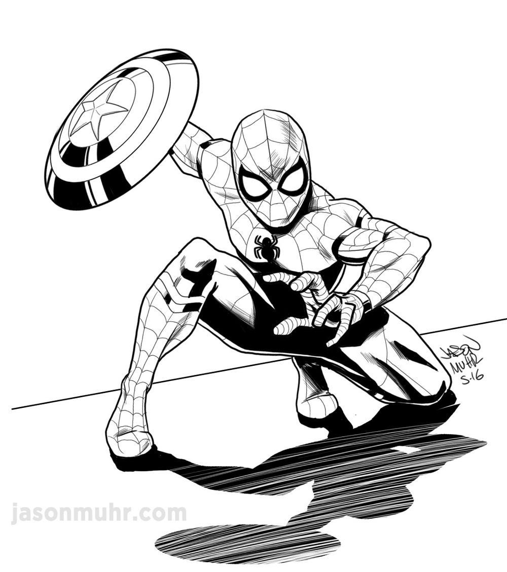 1000x1129 Daily Sketch Civil War Spider Man Jason Muhr