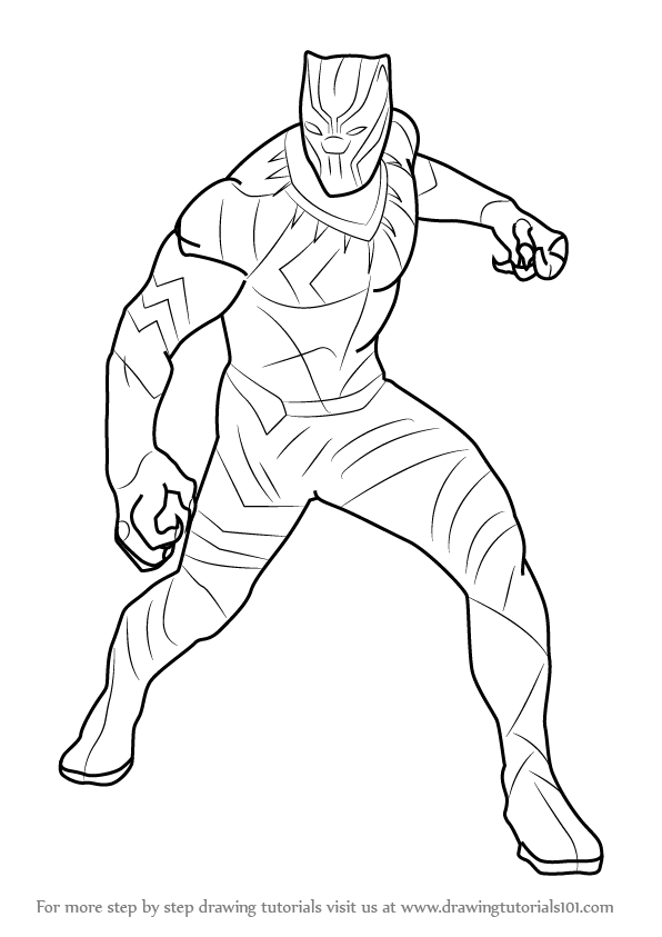 596x843 How To Draw Black Panther From Captain America Civil War