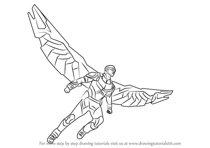 800x566 Learn How To Draw Falcon From Captain America Civil War (Captain