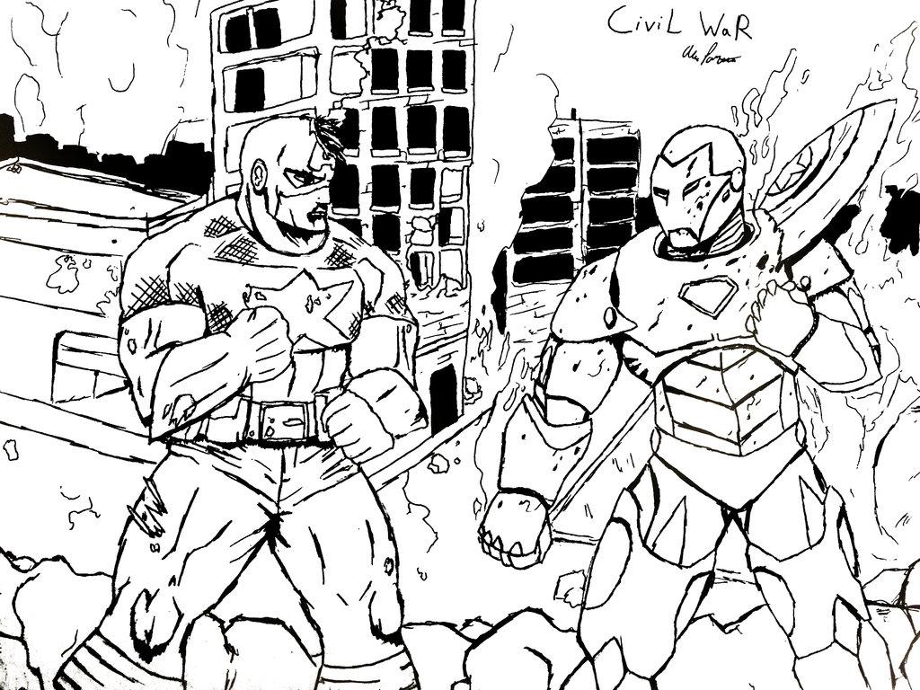 1024x768 Marvel Civil War By Geekparkingonly