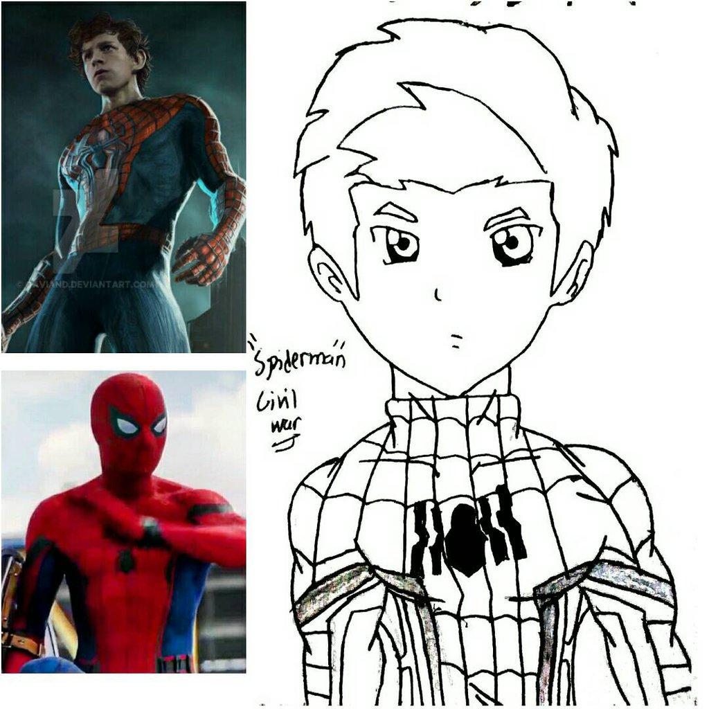 1024x1024 Captain America Civil War Spiderman By 13josh16