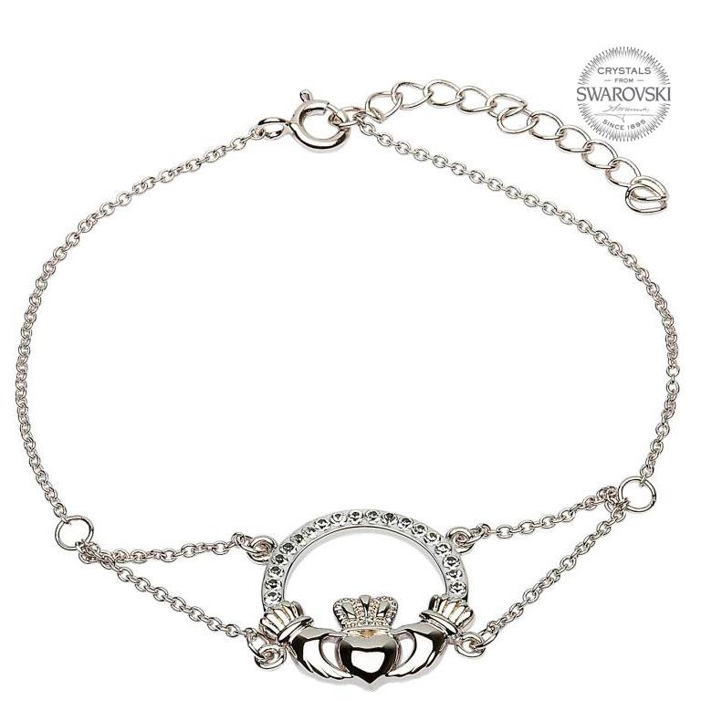 768x768 Claddagh Bracelet Adorned With Swarovski Crystals