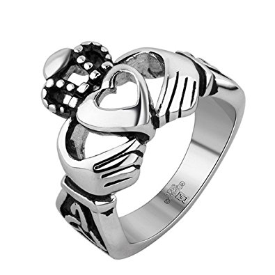 395x395 Um Jewellery Womens Stainless Steel Claddagh Hand Heart Crown Ring