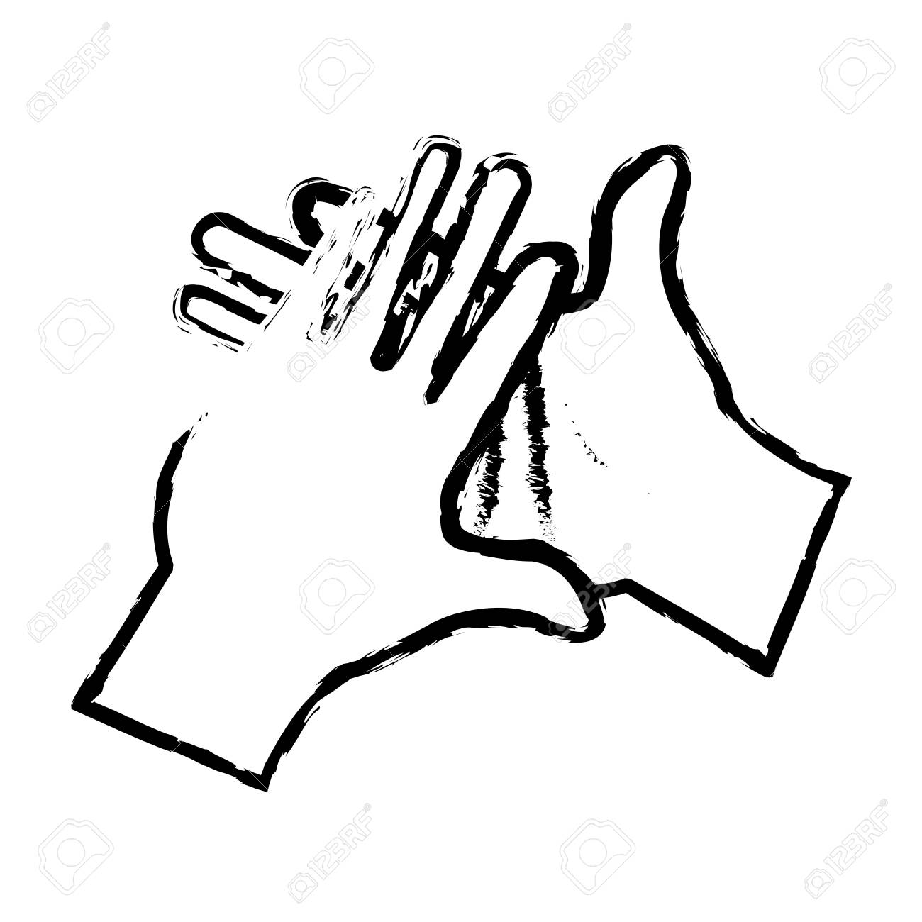 1300x1300 Hand Man Clap Gesture Icon Sketch Vector Illustration Royalty Free