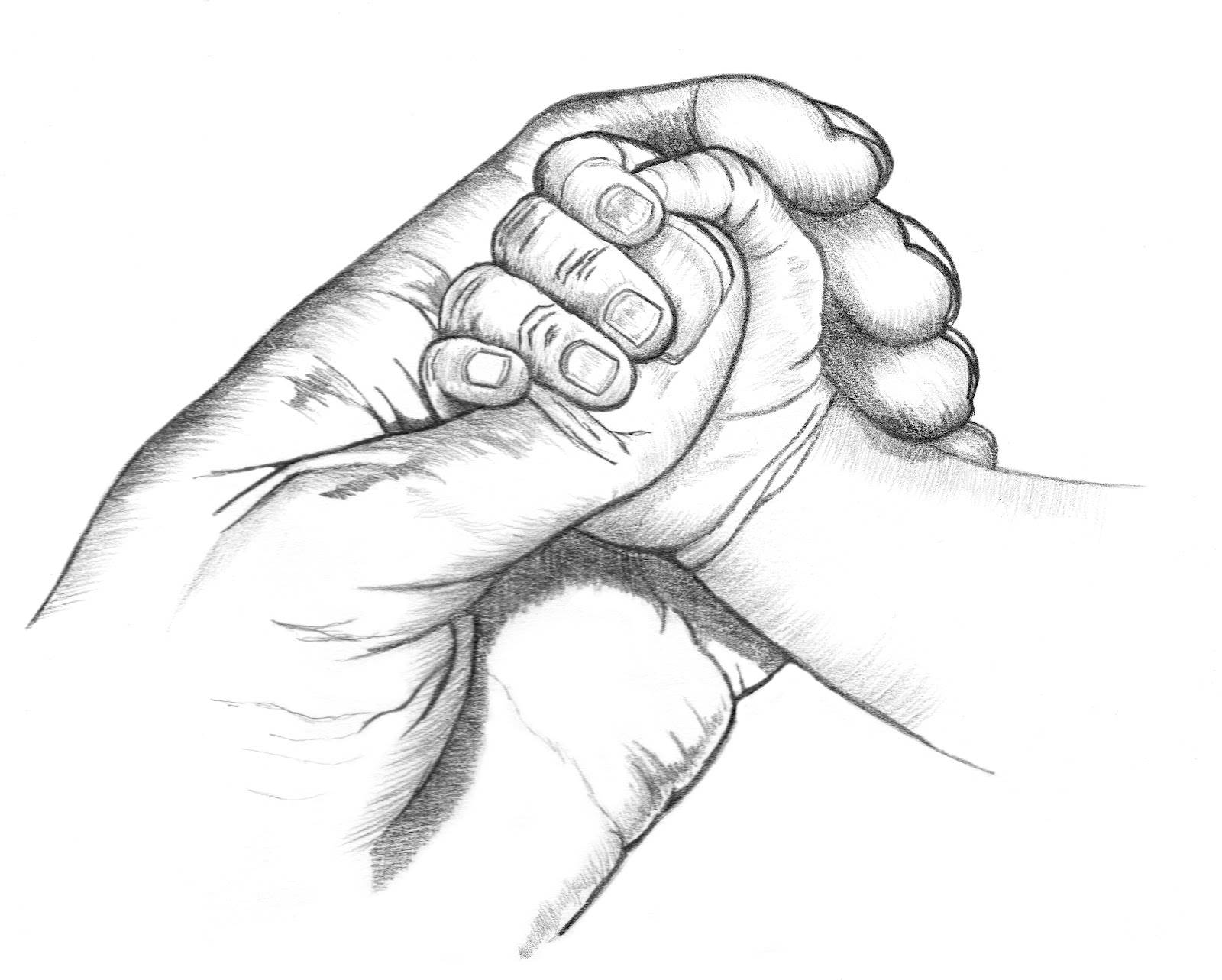 Clasped Hands Drawing