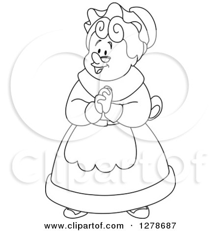450x470 Clipart Of A Black And White Senior Woman Or Mrs Claus Clasping