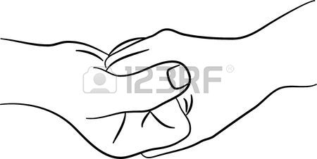 450x226 A Simple Line Drawing Of Two Hands Clasped Together Stock Photo