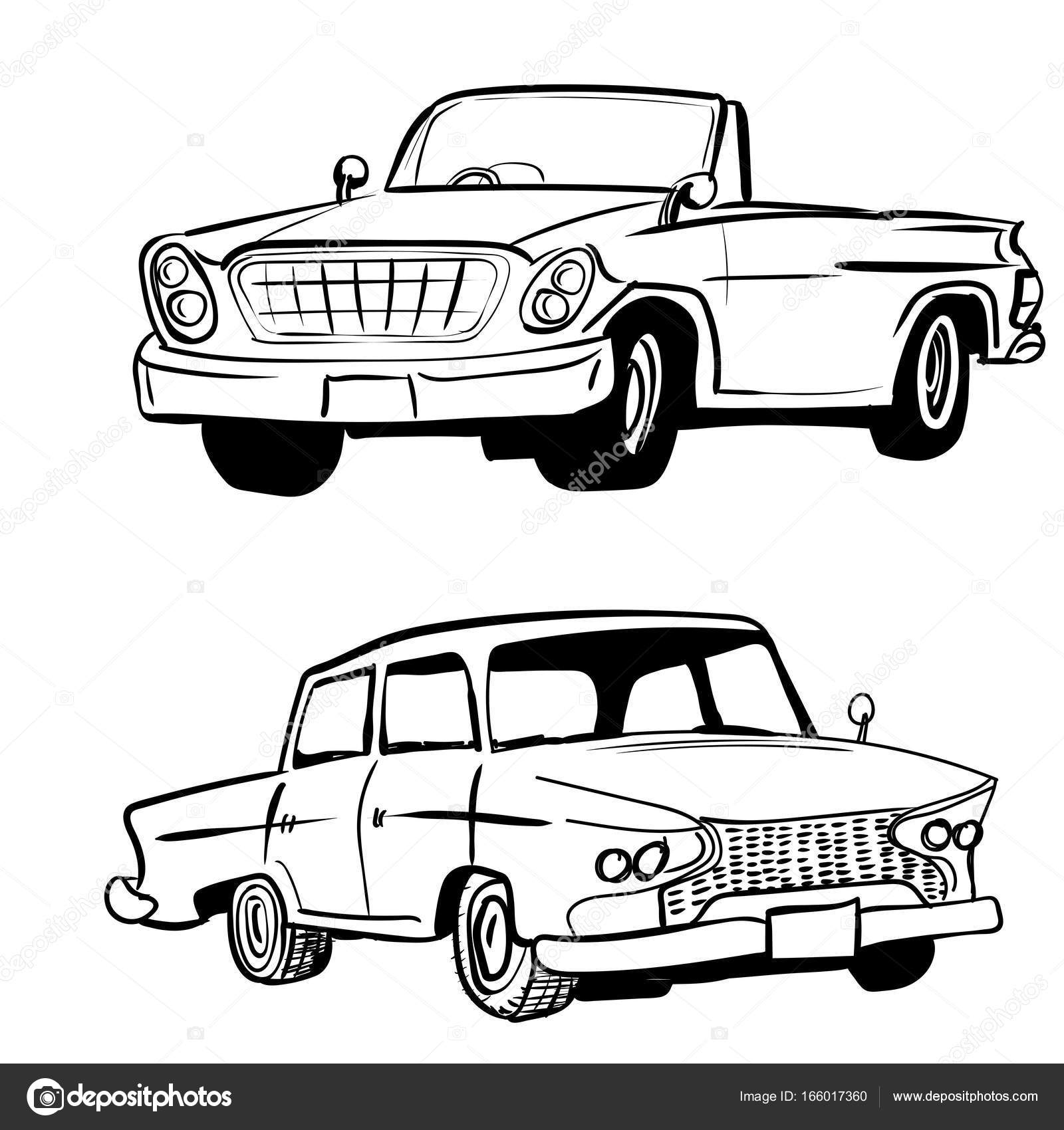 1600x1700 Hand Drawing Classic Car, Vintage Car Vector Illustration Stock