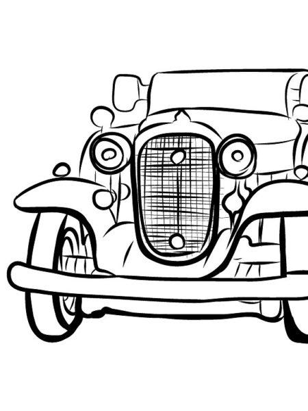 450x600 Vintage Car Drawing, Pencil, Sketch, Colorful, Realistic Art