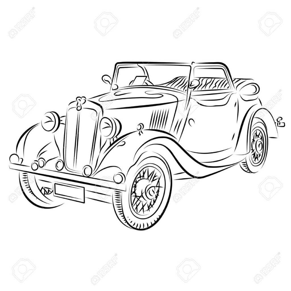 1024x1024 Vintage Car Drawing Classical Car Images Stock Pictures Royalty
