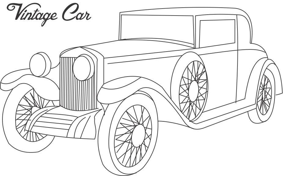 old cars coloring pages - classic car line drawing at free for