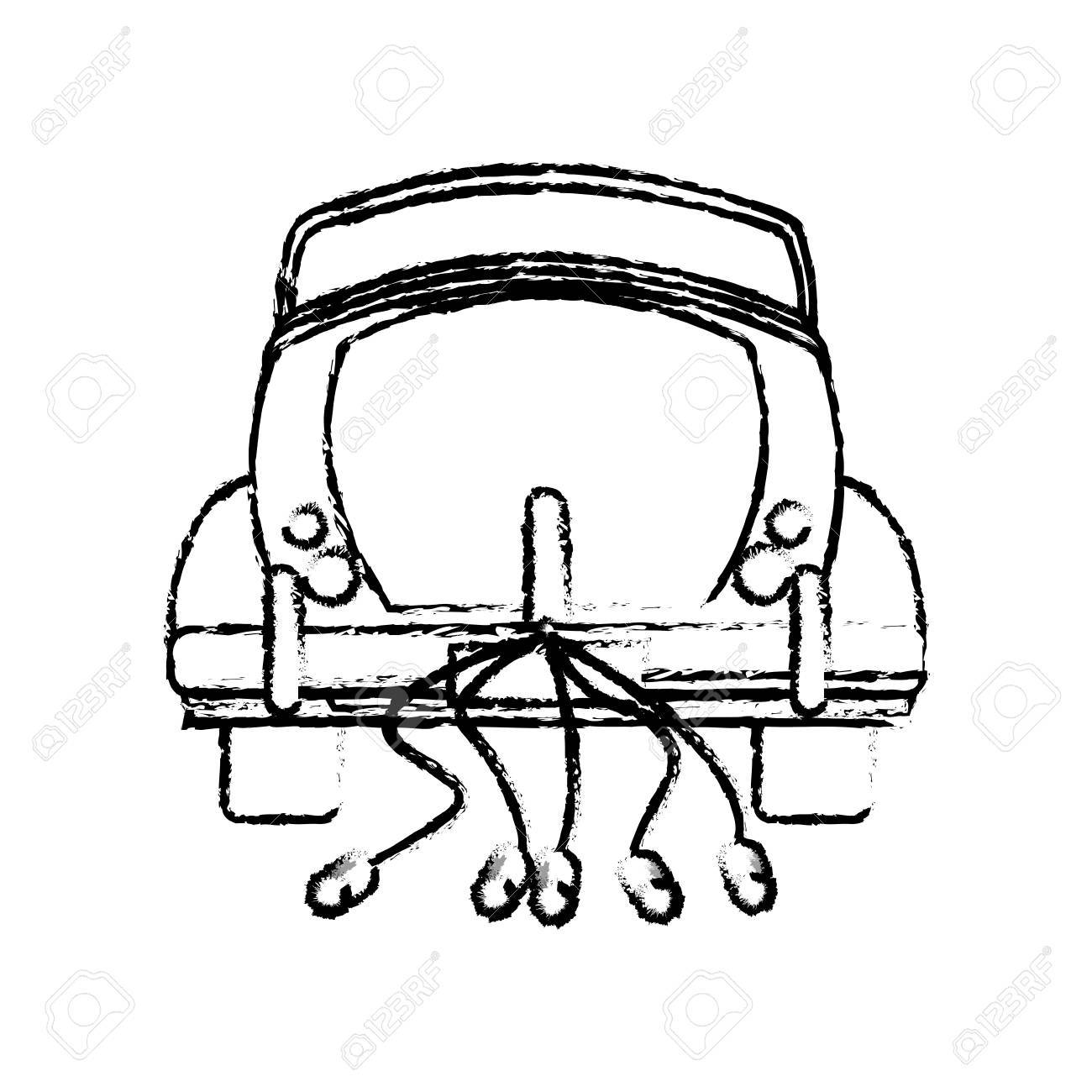 1300x1300 Classic Car Just Married Sketch Vector Illustration Epps 10
