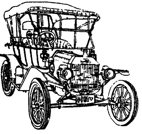 600x568 Drawing Model T Car Coloring Pages Color Luna