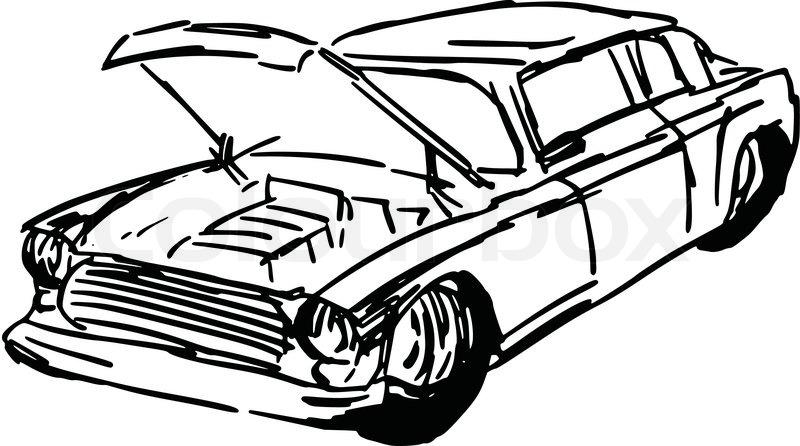 800x446 Hand Drawn, Sketch, Cartoon Illustration Of Car Hood Stock