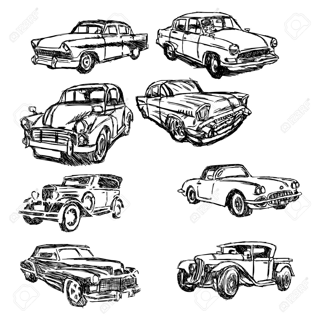 1300x1300 Illustration Doodle Hand Drawn Of Sketch Set Old Car Isolated