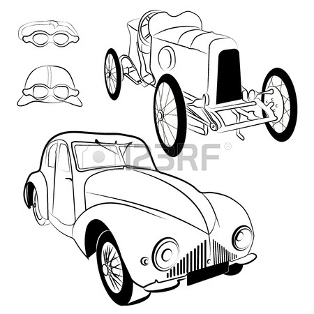 450x450 Old Retro Car Side View Vintage Drawing Style. Vector Illustration